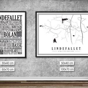 Affischpaket Lindefallet Karta och Lindefallet Platser